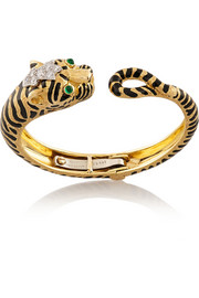 David Webb Tiger enameled 18-karat gold, platinum, diamond and emerald bangle