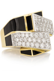 David Webb Ski Slope 18-karat gold, enamel and diamond ring