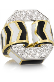 David Webb Buckle 18-karat gold, enamel and diamond ring