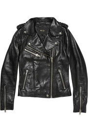 Maje Madone stitched leather biker jacket