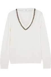 Cecile embellished wool and cashmere-blend sweater