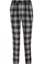 Hadley plaid washed-silk tapered pants