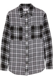 Signature plaid washed-silk shirt