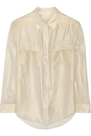 Equipment Signature metallic cotton-crepe shirt