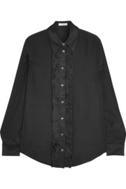 Blake ruffled washed-silk shirt
