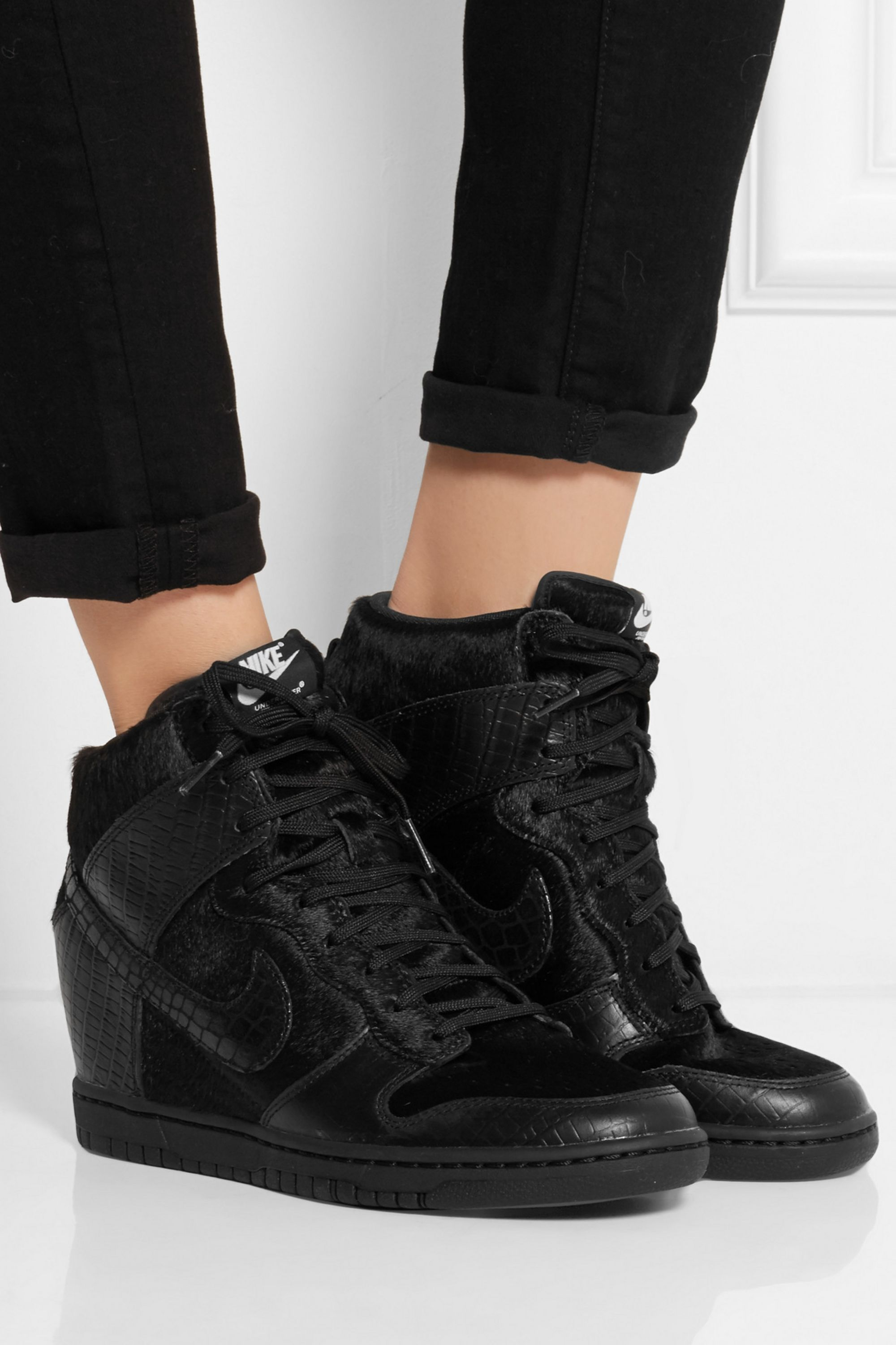 Nike + Undercover Dunk Sky Hi leather and faux calf hair sneakers