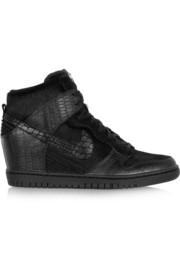 + Undercover Dunk Sky Hi leather and faux calf hair sneakers