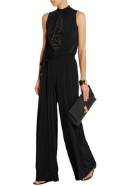 Embellished stretch-jersey jumpsuit
