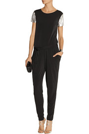 Mesh-trimmed stretch-jersey jumpsuit