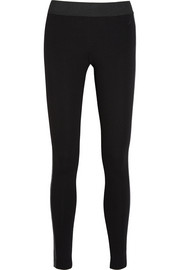 Faux leather-trimmed stretch-ponte leggings
