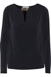 Embellished stretch-crepe de chine top