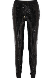 Sequined jersey track pants