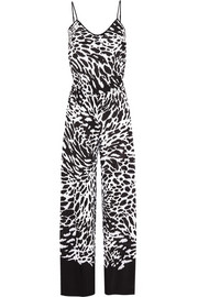 Animal-print crepe jumpsuit