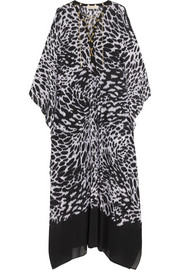 Chain-trimmed animal-print crepe kaftan