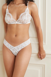 Signature set of three stretch-lace thongs