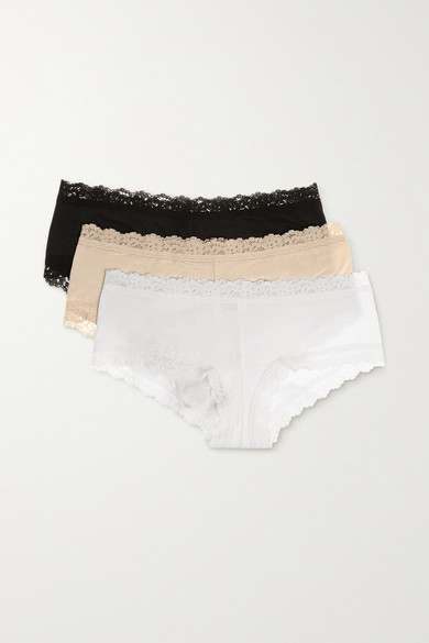 Set Of Three Lace-Trimmed Stretch-Organic Cotton Jersey Boy Shorts in Black