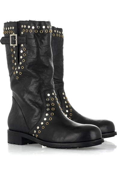 048818780a7 Jimmy Choo. York leather motorcycle boots