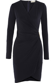 Wrap-effect stretch-jersey dress