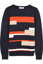 Color-block cotton-blend sweater