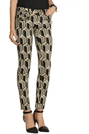 GENETIC X Liberty Ross Metallic mid-rise jacquard skinny jeans