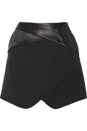 Satin-trimmed wool-twill mini skirt