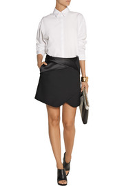 Dion Lee Satin-trimmed wool-twill mini skirt