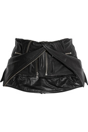 Leather biker waist belt