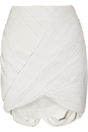 Wrap-effect plissé-crepe mini skirt