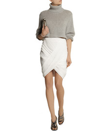 Dion Lee Wrap-effect plissé-crepe mini skirt