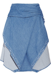 Stretch-denim wrap-effect skirt