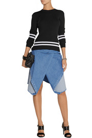 Dion Lee Stretch-denim wrap-effect skirt