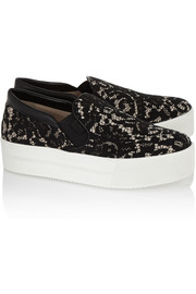 No. 21 Leather-trimmed lace slip-on sneakers