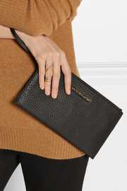 Essentials textured-leather pouch