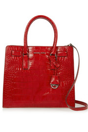 Dillon large croc-effect leather tote