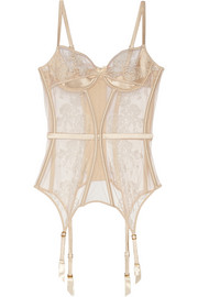 Agent Provocateur Gloria embroidered tulle and satin basque