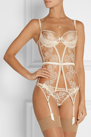 Gloria embroidered tulle and satin thong