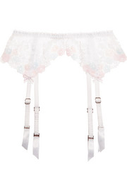 Petunia embroidered tulle suspender belt