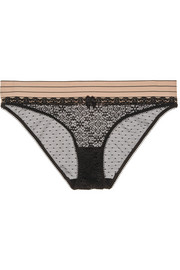 Millie Drawing lace and Swiss-dot tulle briefs