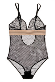 Millie Drawing lace and Swiss-dot tulle bodysuit