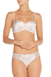 Mia Loving stretch-silk and lace strapless bra