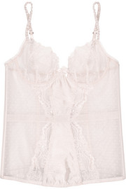Stella McCartney Mia Loving lace and and Swiss-dot tulle corset