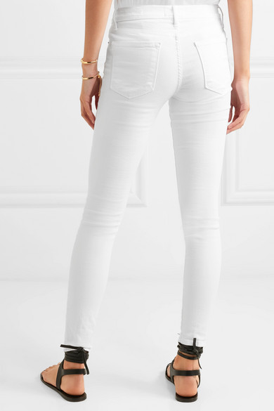 FRAME Le Skinny de Jeanne halbhohe Jeans in Distressed-Optik