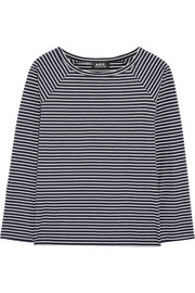 Baseball striped cotton-blend top