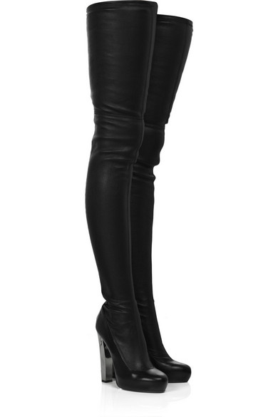 Roberto Cavalli | Leather thigh-high boots | NET-A-PORTER.COM