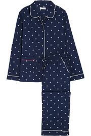 Star-print cotton-voile pajama set