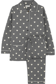 Heart-print cotton-voile pajama set