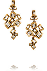 Square gold-plated crystal clip earrings