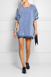 Ashish Sequined distressed denim mini dress