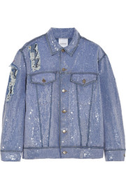 Ashish Sequined distressed denim jacket