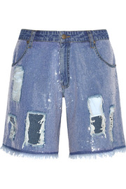 Sequined distressed denim shorts